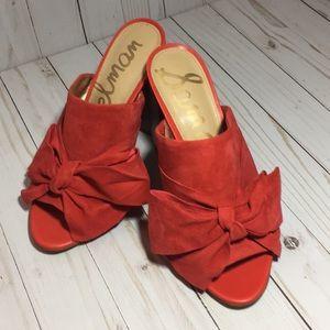 Sam Edelman Yumi Bow Mule sandals Havana Red